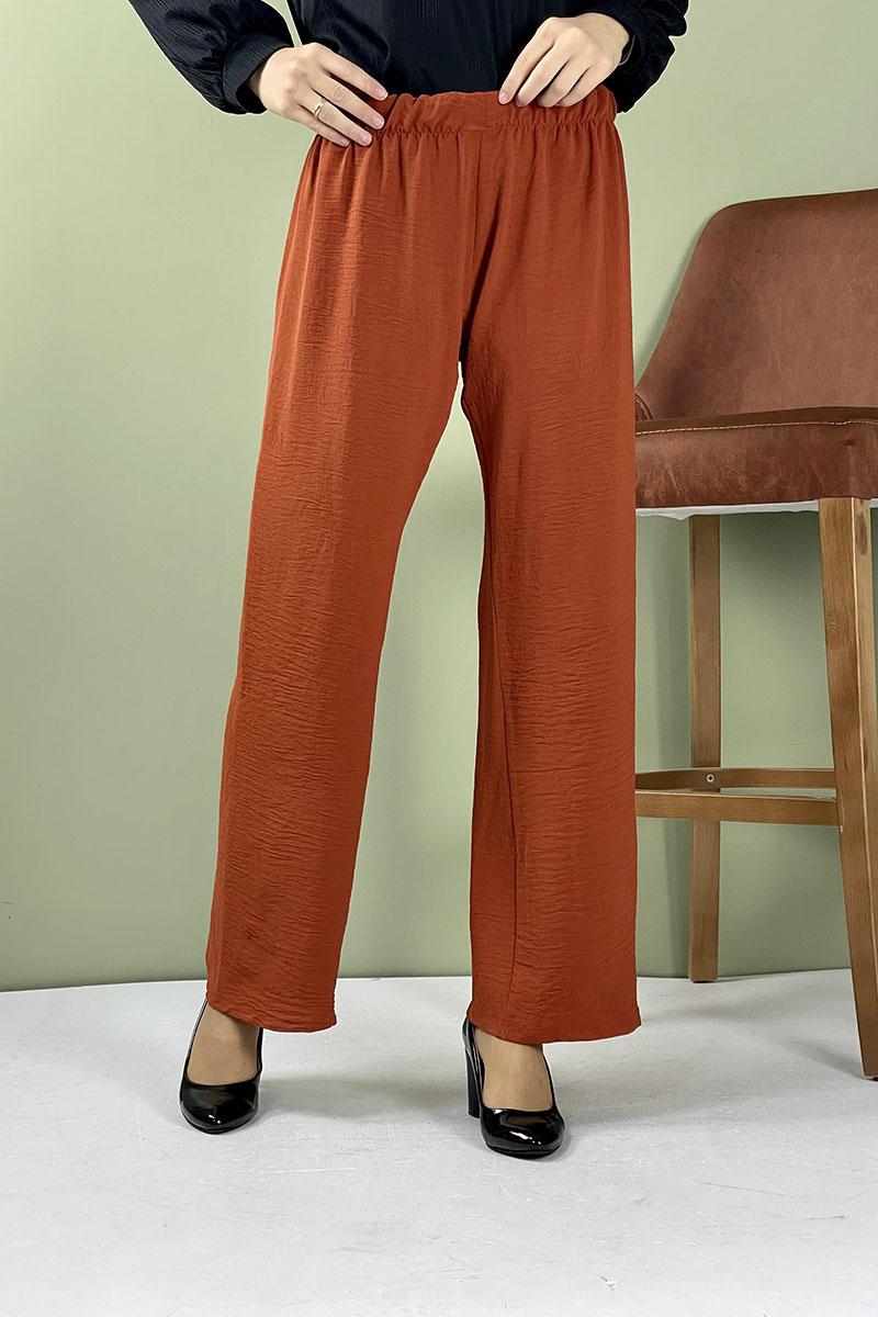 Moda Pinhan - Aerobin Geniş Paça Pantolon Kiremit (1)