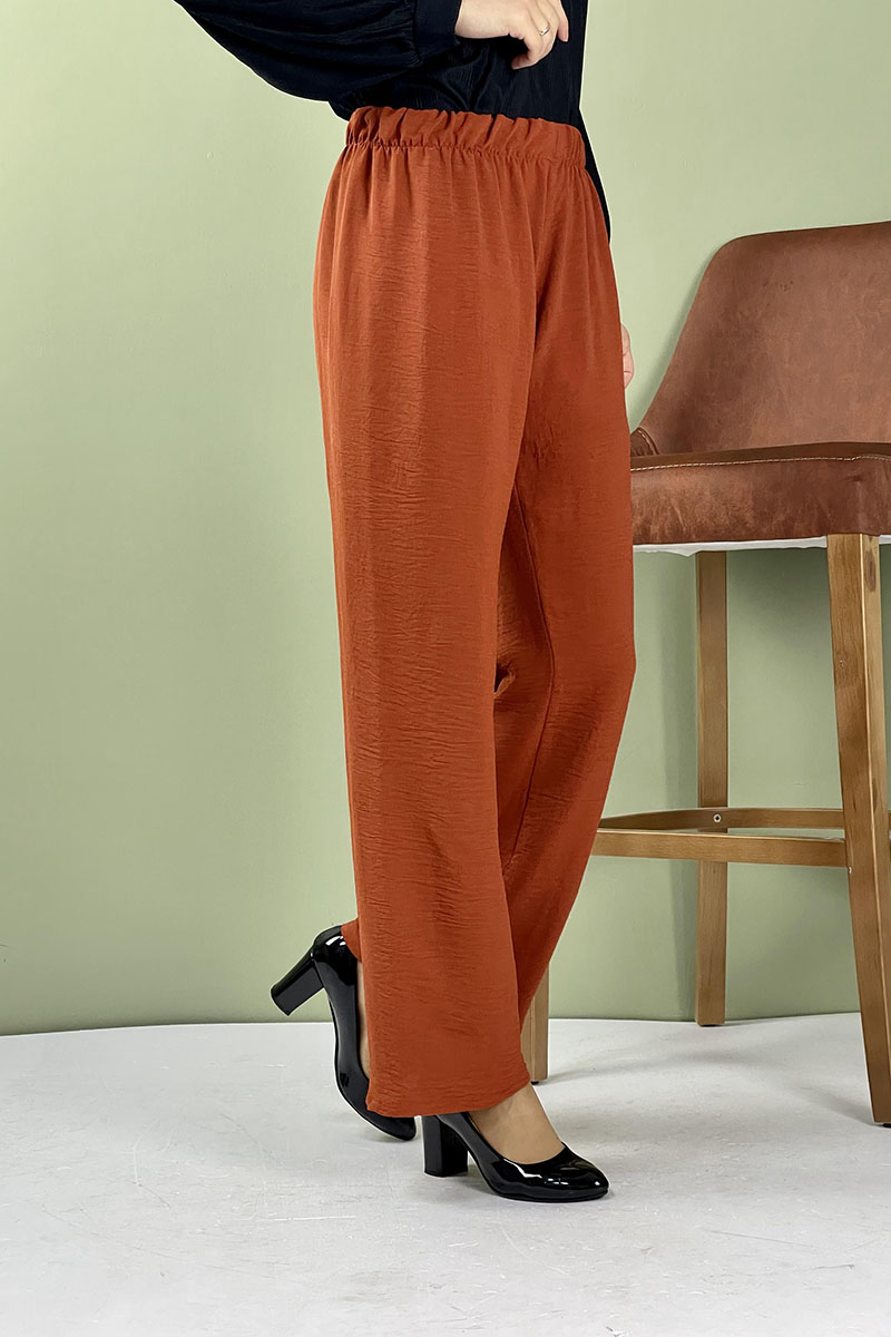 Aerobin Geniş Paça Pantolon Kiremit - Thumbnail
