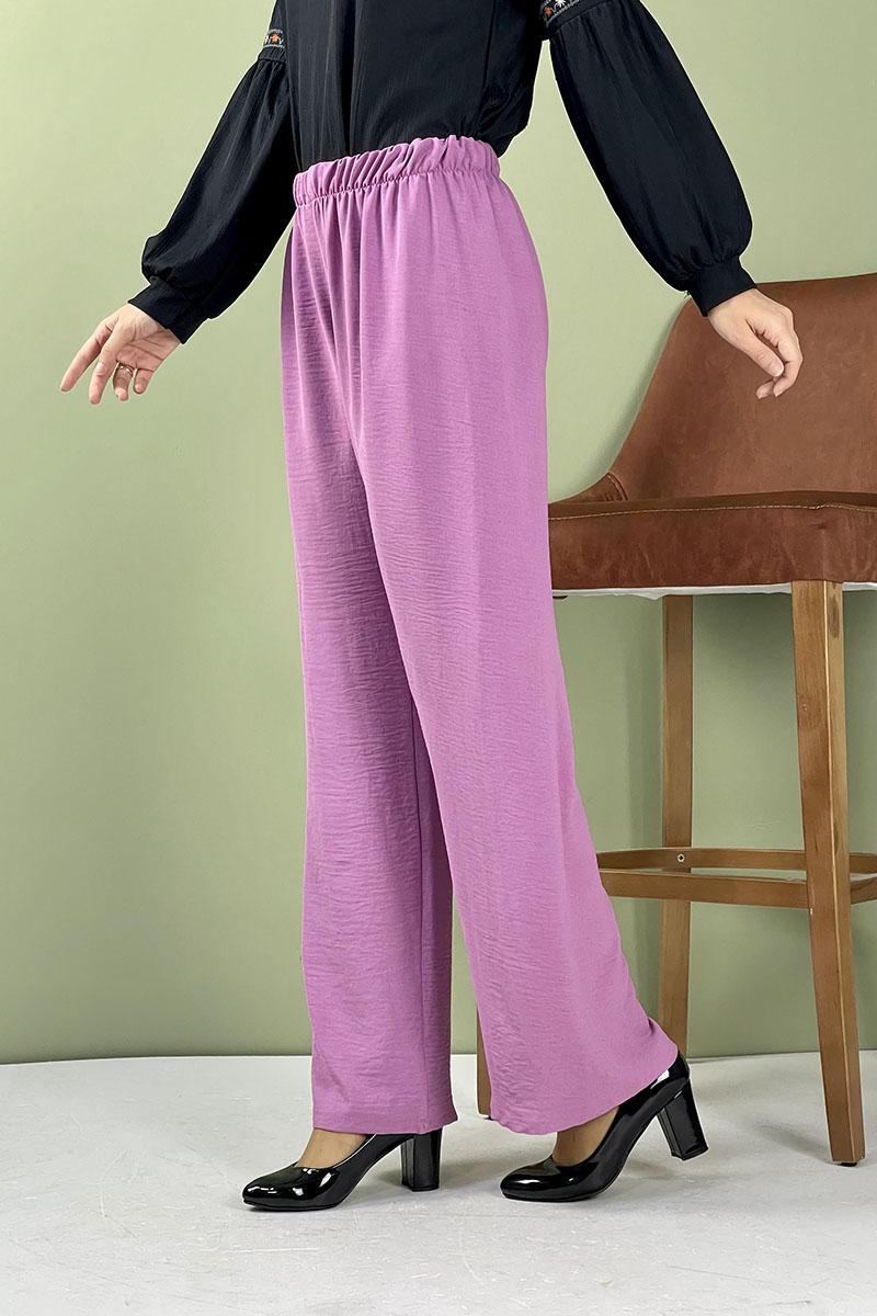 Moda Pinhan - Aerobin Geniş Paça Pantolon Lila (1)