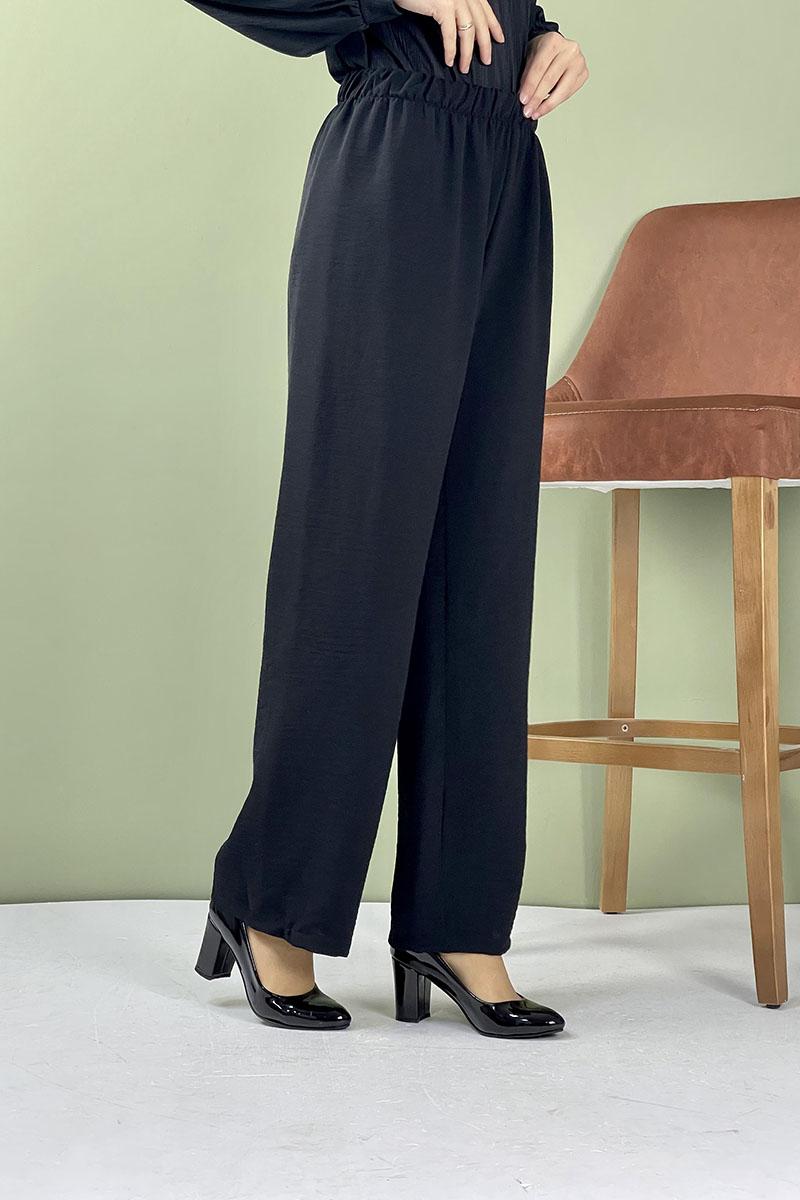 Moda Pinhan - Aerobin Geniş Paça Pantolon Siyah (1)