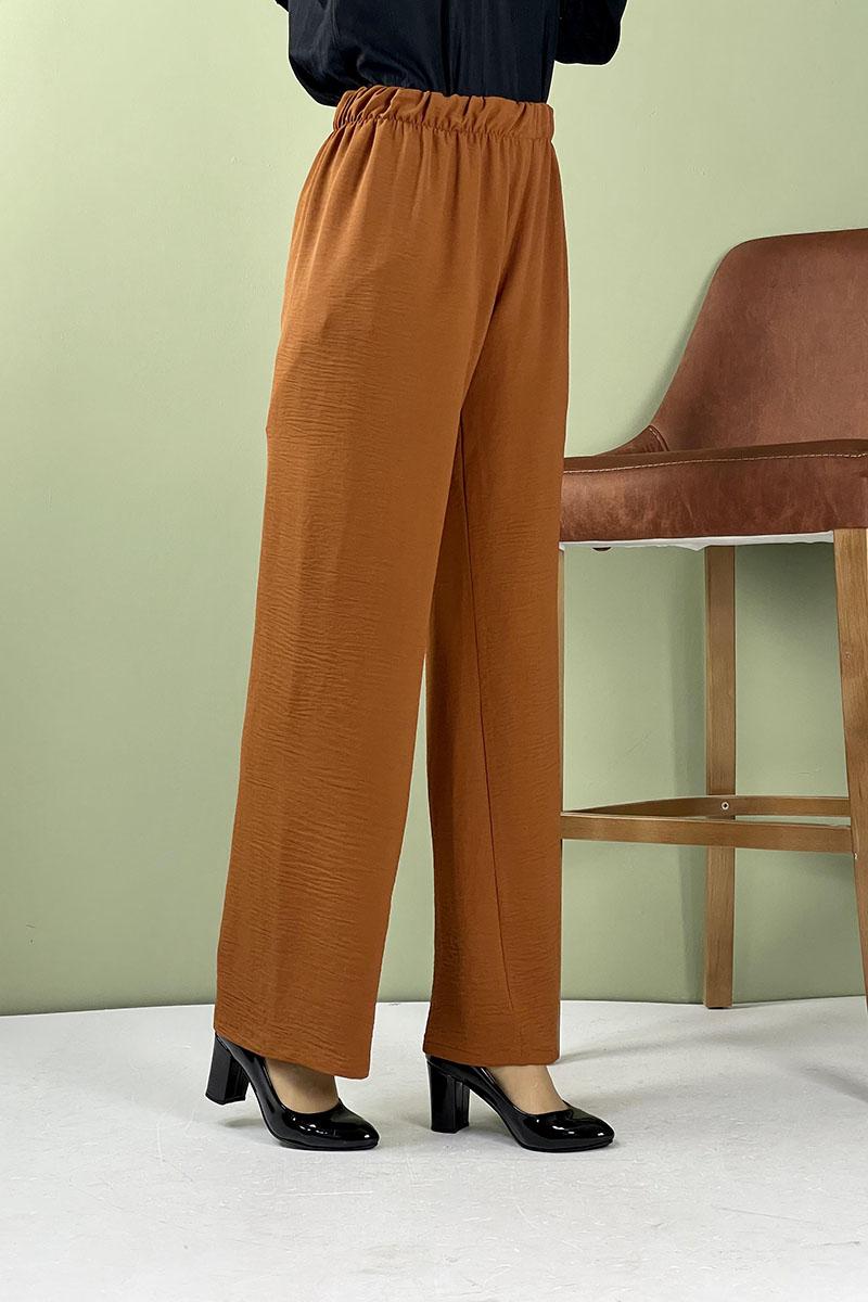 Moda Pinhan - Aerobin Geniş Paça Pantolon Taba (1)