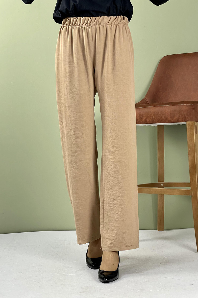 Moda Pinhan - Aerobin Geniş Paça Pantolon Vizon (1)