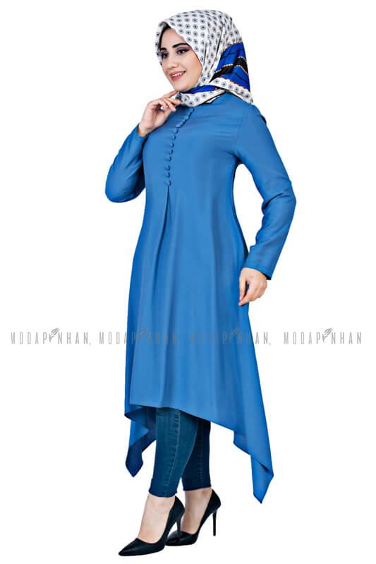 Moda Pinhan - Aksesuar Düğmeli Tesettür Tunik Mavi (1)