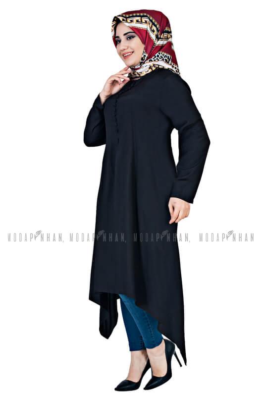 SGS - Aksesuar Düğmeli Tesettür Tunik Siyah