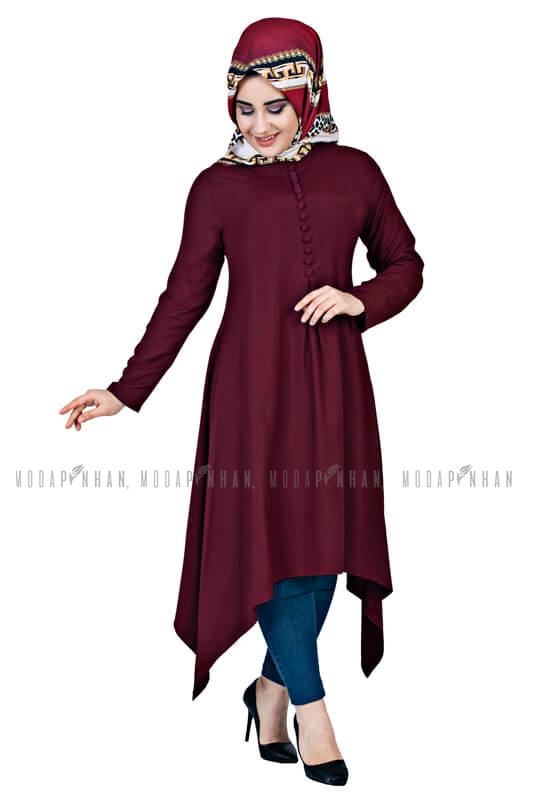Moda Pinhan - Aksesuar Düğmeli Tesettür Tunik Vişne (1)