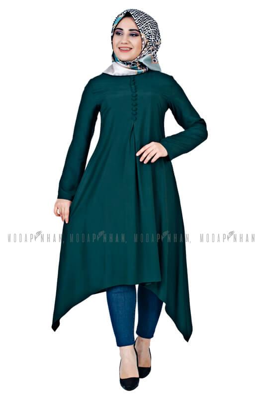Moda Pinhan - Aksesuar Düğmeli Tesettür Tunik Zümrüt (1)
