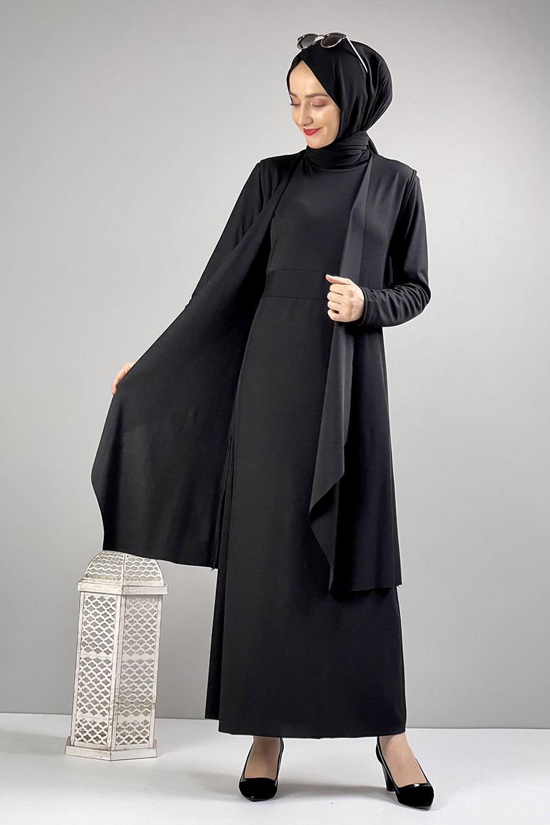 Moda Pinhan - Asimetrik İkili Tesettür Takım Siyah (1)