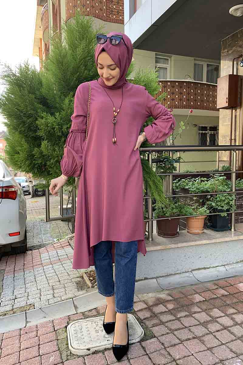 Moda Pinhan - Balon Kol Kolye Detaylı Tesettür Tunik Gül Kurusu (1)