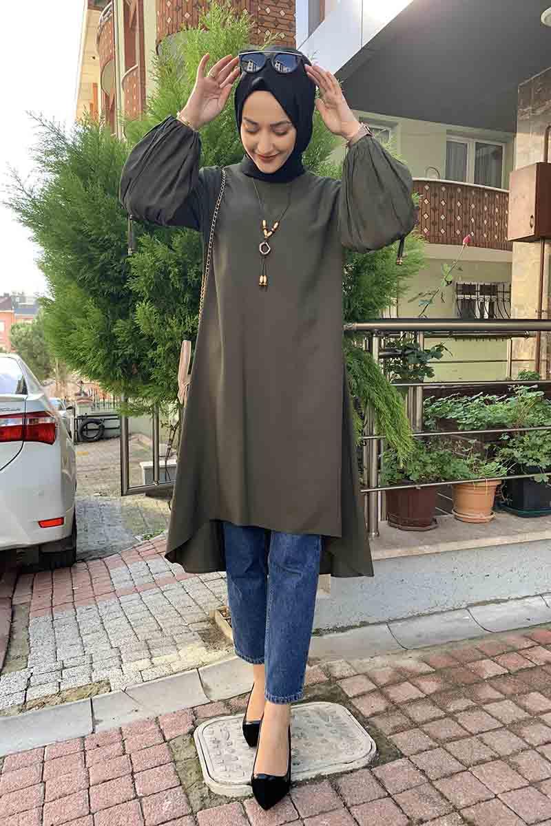 Moda Pinhan - Balon Kol Kolye Detaylı Tesettür Tunik Haki (1)