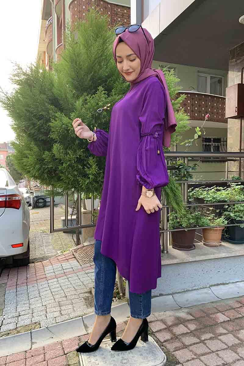 Moda Pinhan - Balon Kol Kolye Detaylı Tesettür Tunik Mor (1)