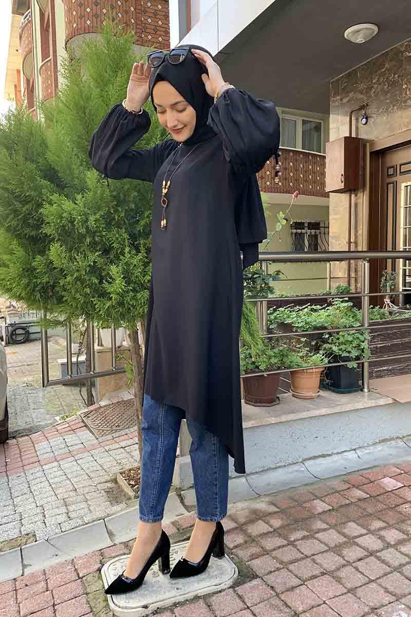 Moda Pinhan - Balon Kol Kolye Detaylı Tesettür Tunik Siyah (1)