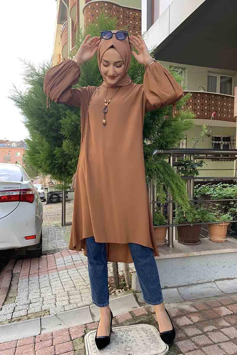 Moda Pinhan - Balon Kol Kolye Detaylı Tesettür Tunik Taba (1)