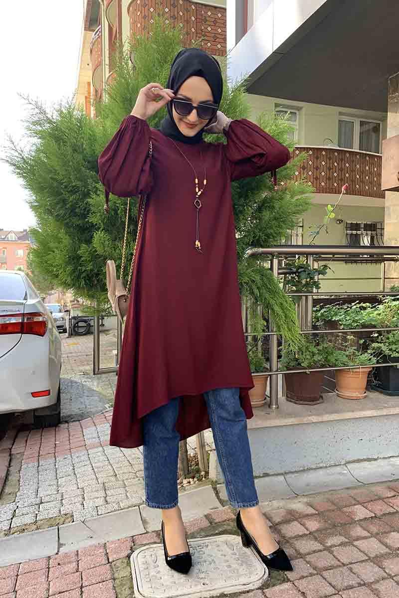 Moda Pinhan - Balon Kol Kolye Detaylı Tesettür Tunik Vişne (1)