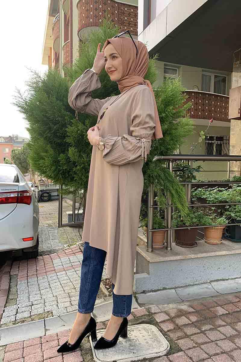 Moda Pinhan - Balon Kol Kolye Detaylı Tesettür Tunik Vizon (1)