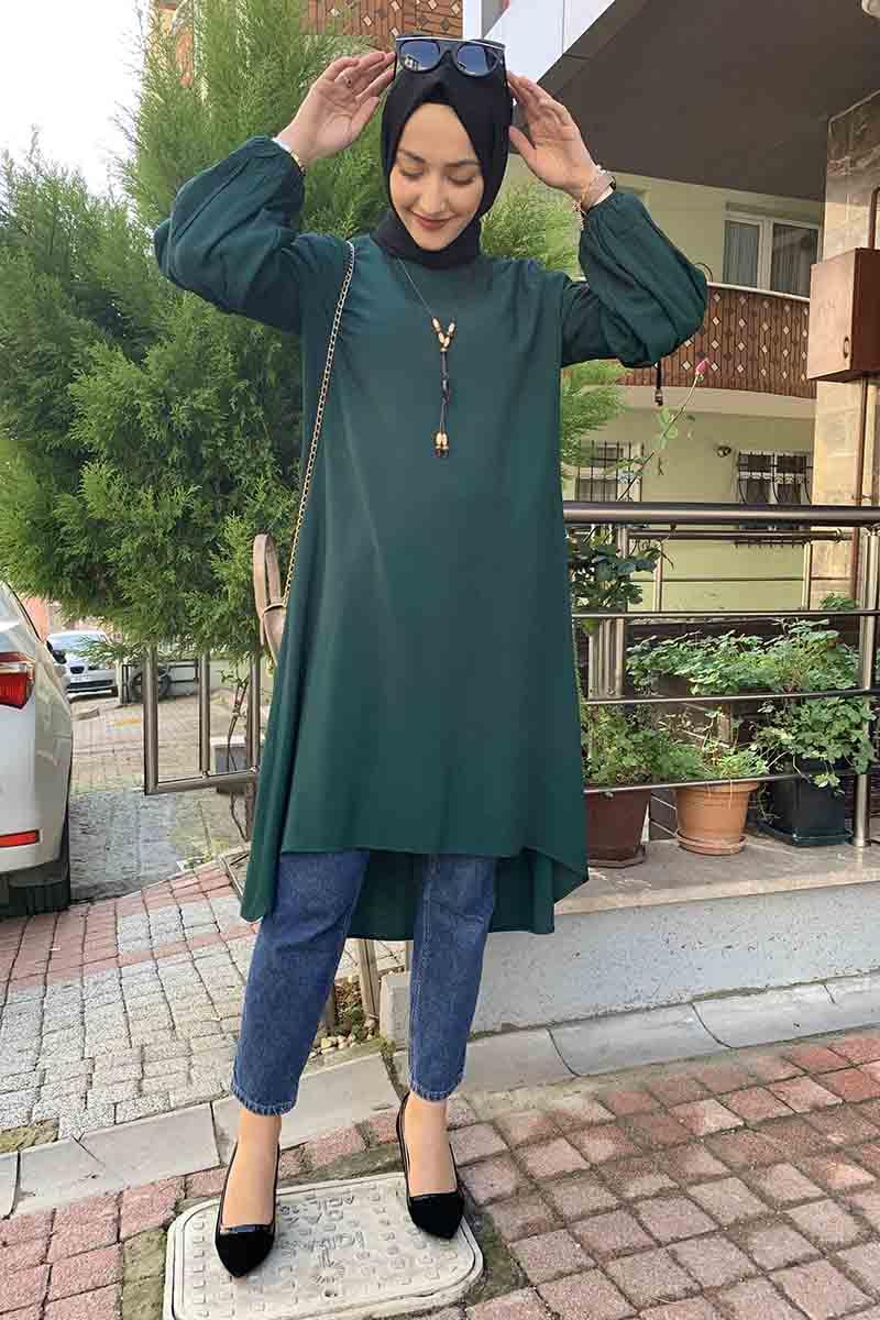 Moda Pinhan - Balon Kol Kolye Detaylı Tesettür Tunik Zümrüt (1)