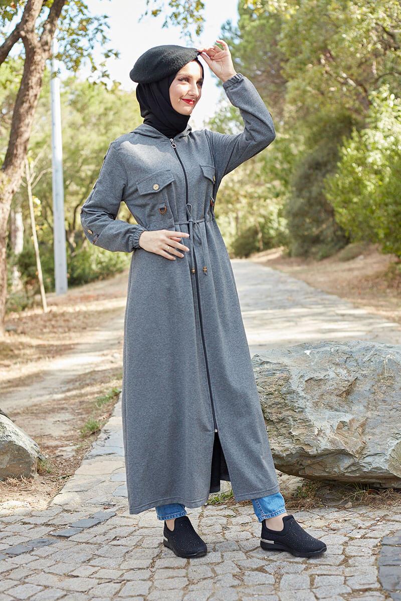 Moda Pinhan - Belden Bağcıklı Tesettür Kap Antrasit (1)
