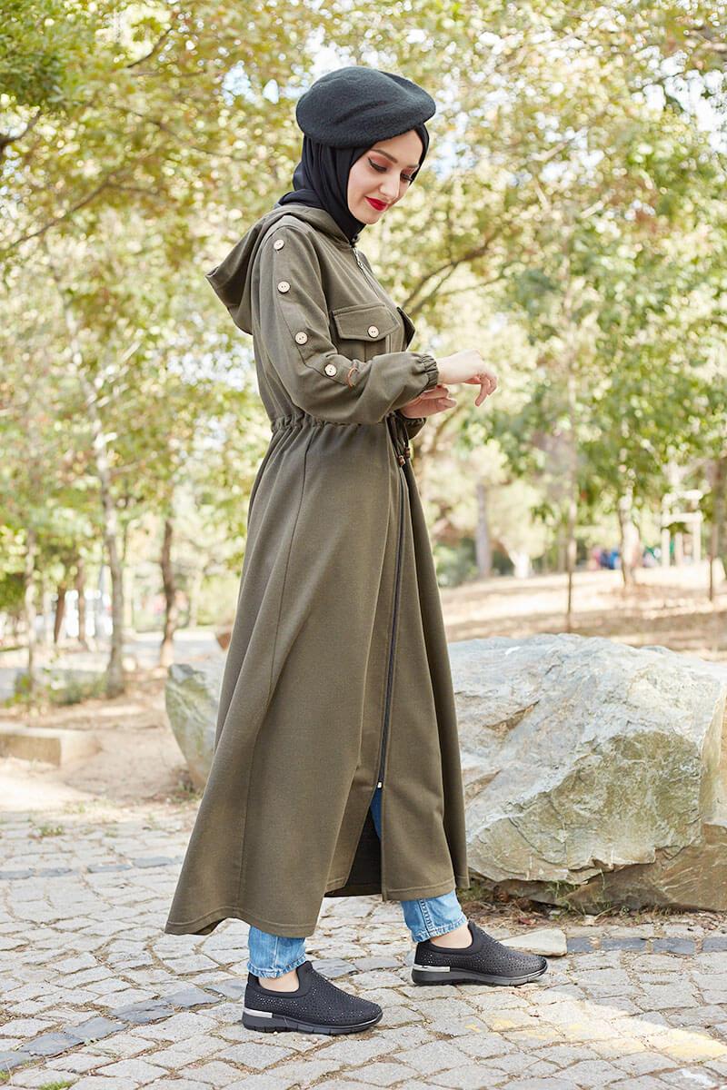 Moda Pinhan - Belden Bağcıklı Tesettür Kap Haki Yeşili (1)