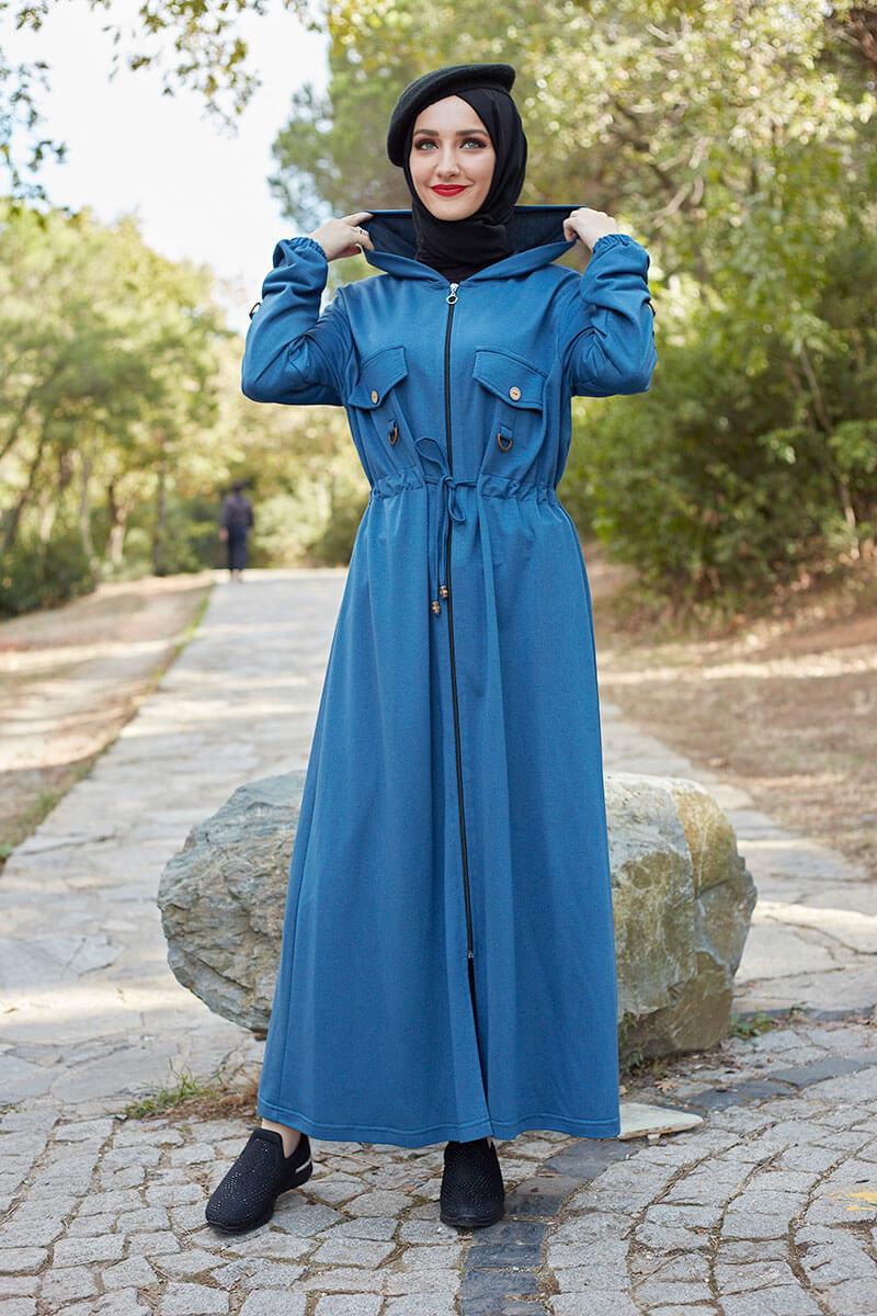 Moda Pinhan - Belden Bağcıklı Tesettür Kap İndigo (1)