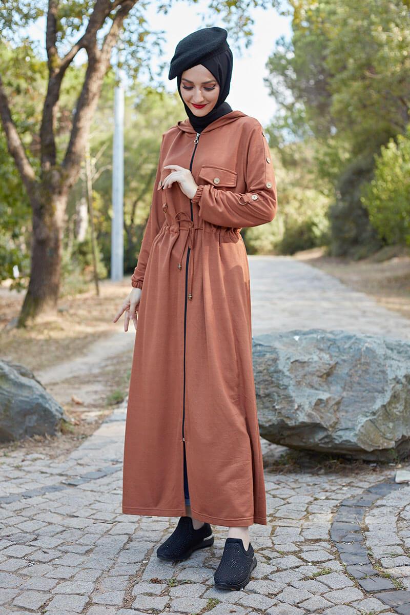 Moda Pinhan - Belden Bağcıklı Tesettür Kap Taba (1)