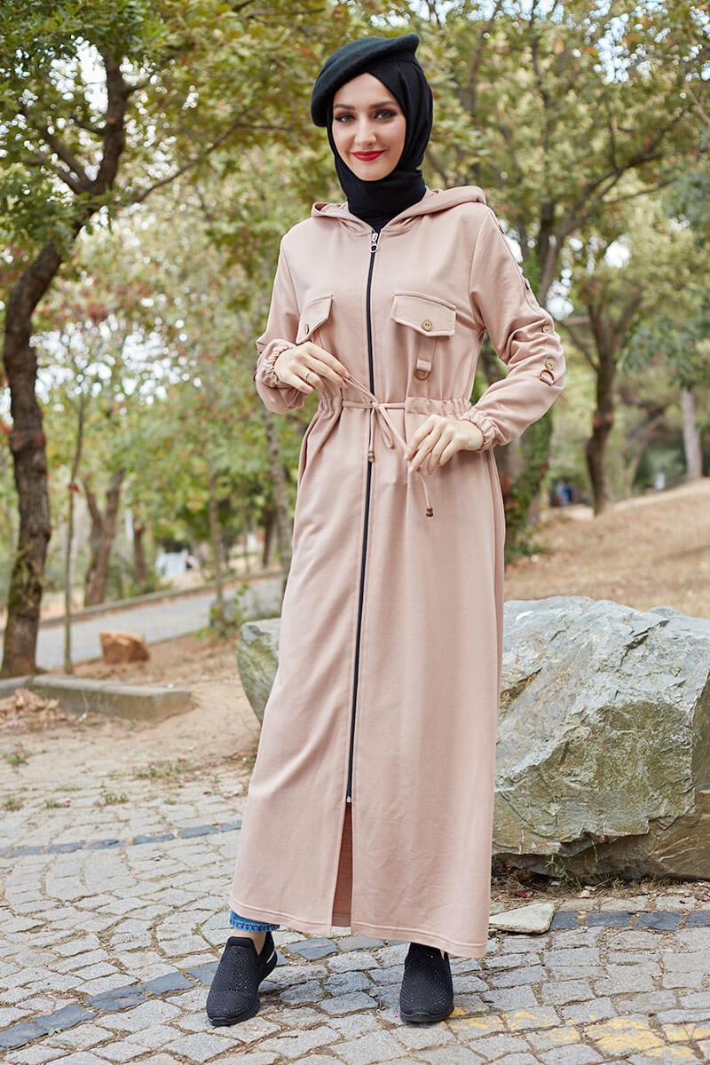 Moda Pinhan - Belden Bağcıklı Tesettür Kap Vizon (1)