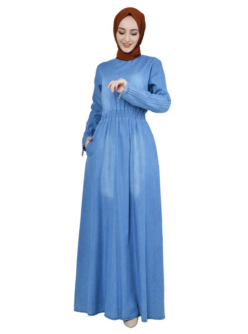 Moda Pinhan - Beli Lastikli Kot Elbise Açık (1)