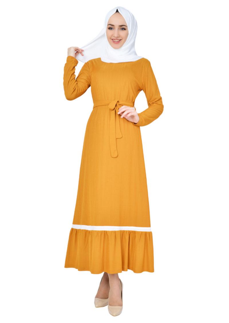 Esilay - Beyaz Şeritli Tesettür Elbise - Hardal