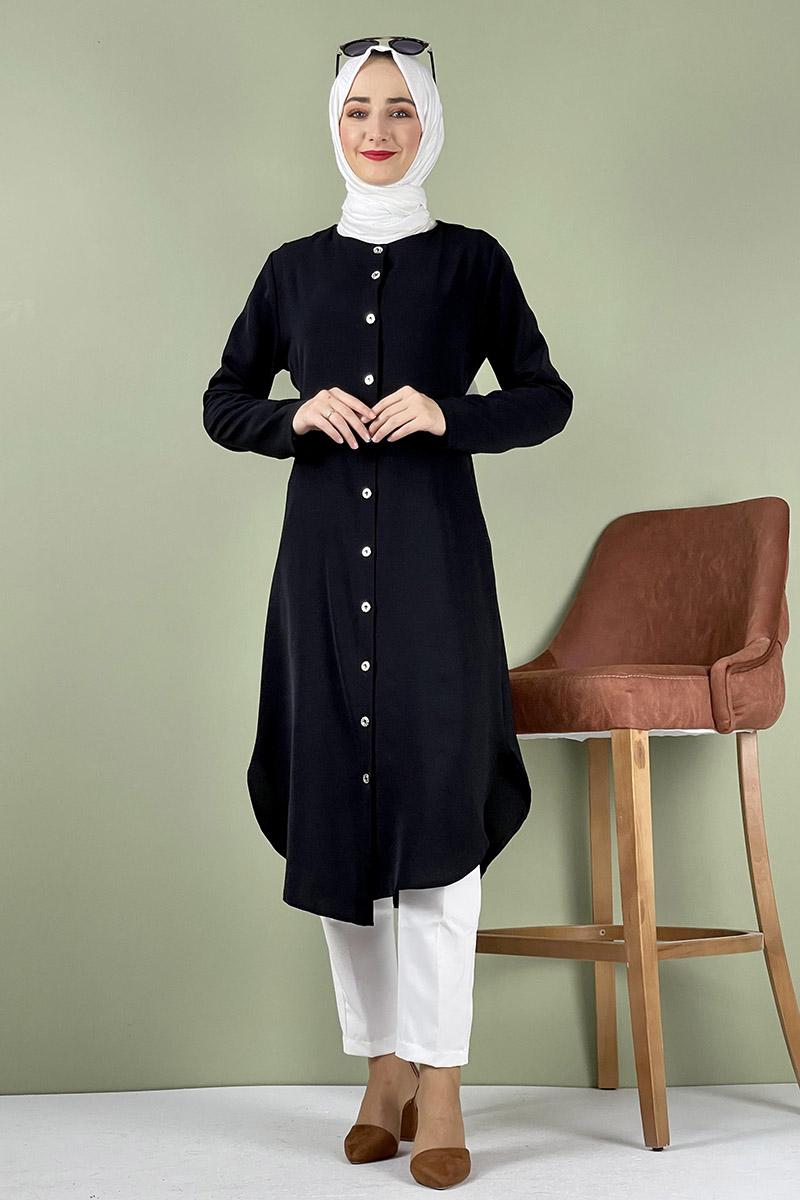 Moda Pinhan - Büyük Beden Aerobin Düğmeli Tunik Siyah (1)