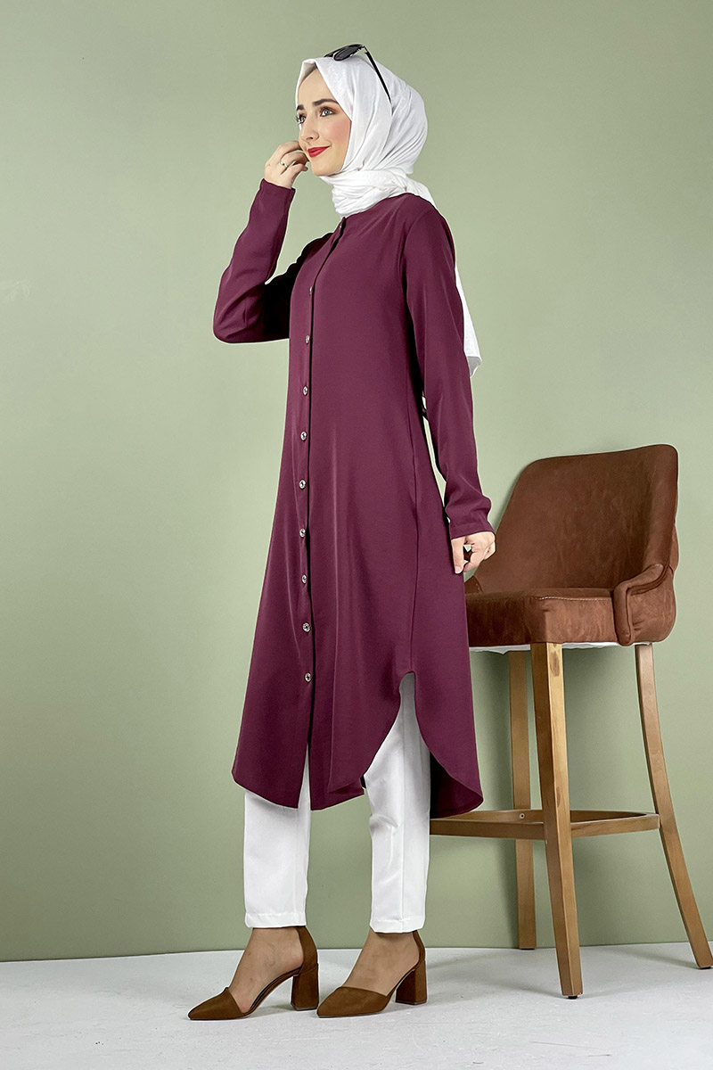 Moda Pinhan - Büyük Beden Aerobin Düğmeli Tunik Vişne (1)