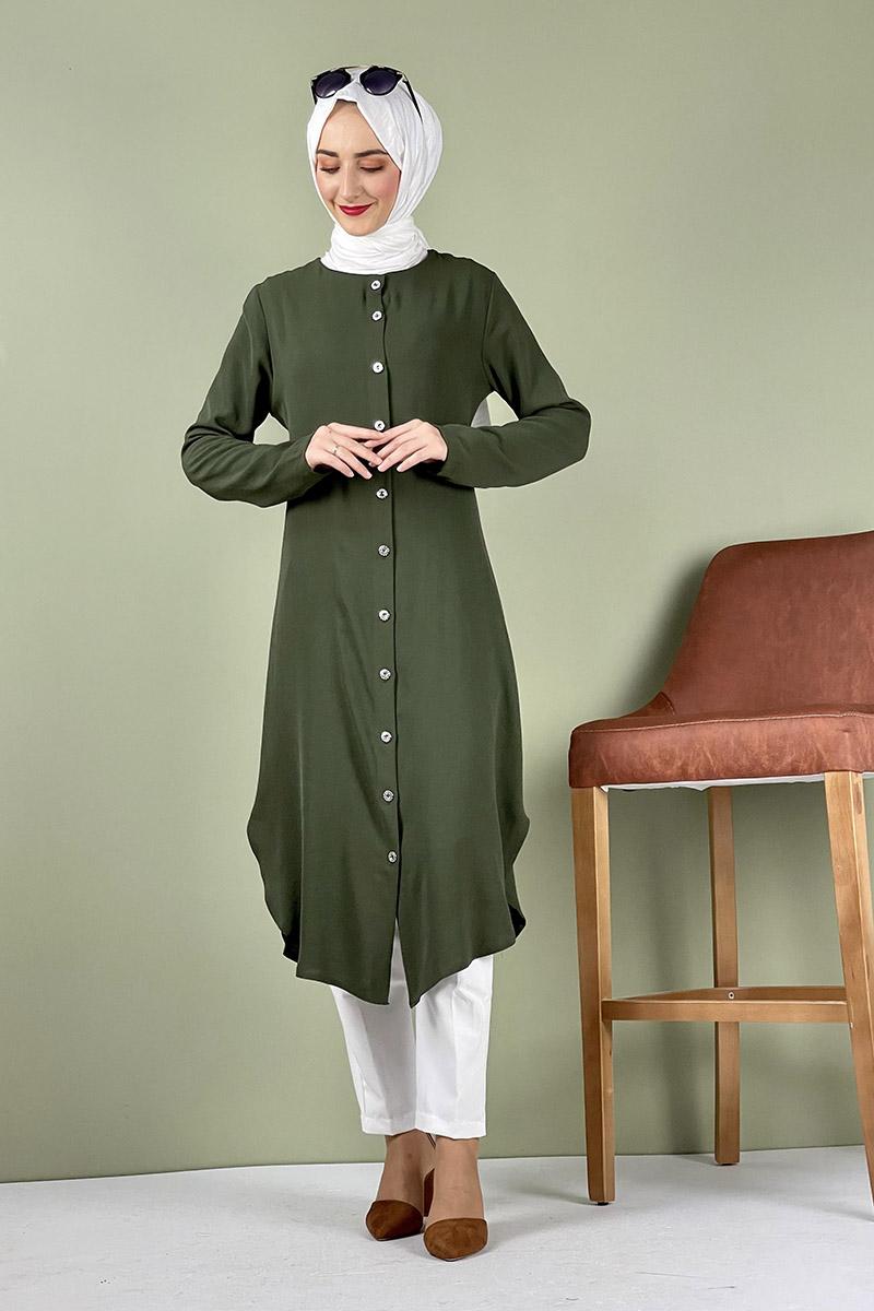 Moda Pinhan - Büyük Beden Aerobin Düğmeli Tunik Yeşil (1)