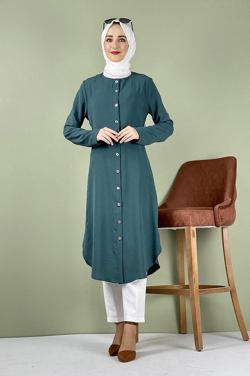 Moda Pinhan - Büyük Beden Aerobin Düğmeli Tunik Zümrüt (1)