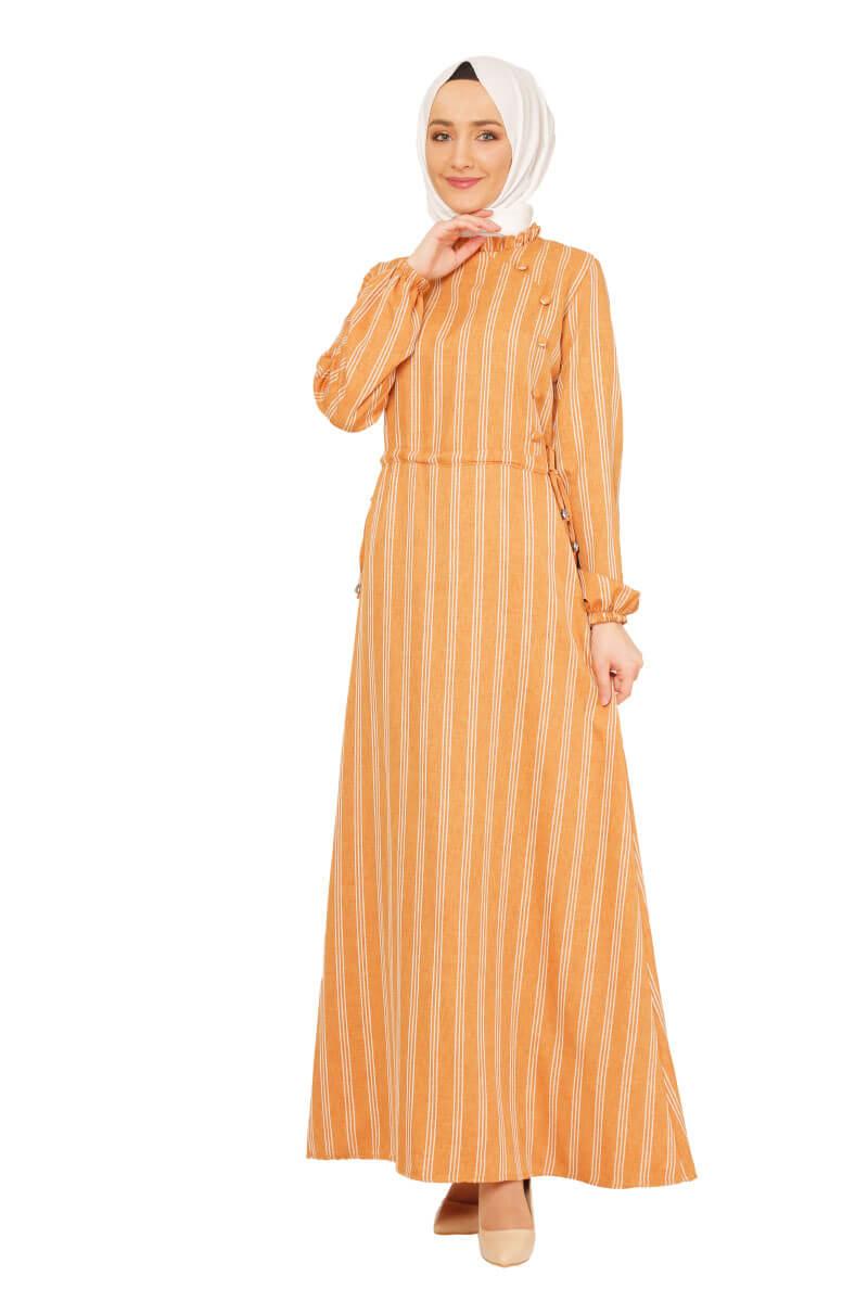 Mis Zemzem - Büzgü Detaylı Tesettür Elbise Hardal