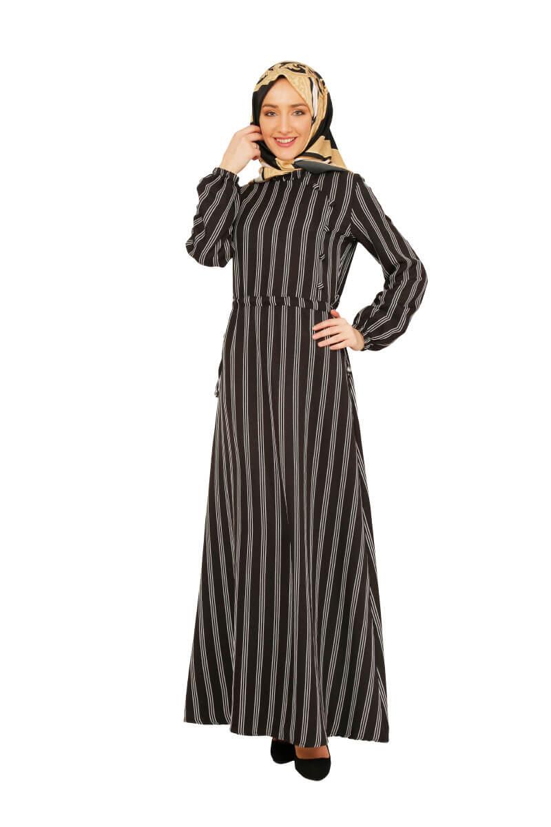 Mis Zemzem - Büzgü Detaylı Tesettür Elbise Siyah