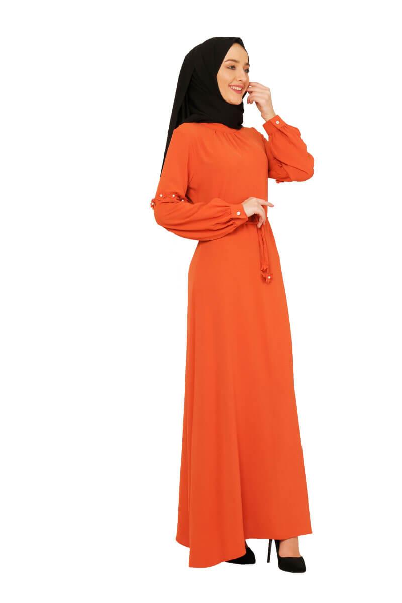 Mis Zemzem - Çiçek Detaylı Tesettür Elbise Soğan Kabuğu