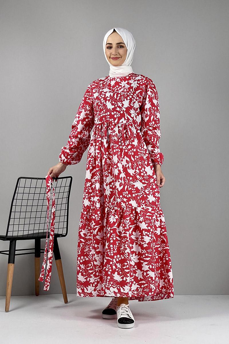 Moda Pinhan - Desenli Elbise Kırmızı (1)