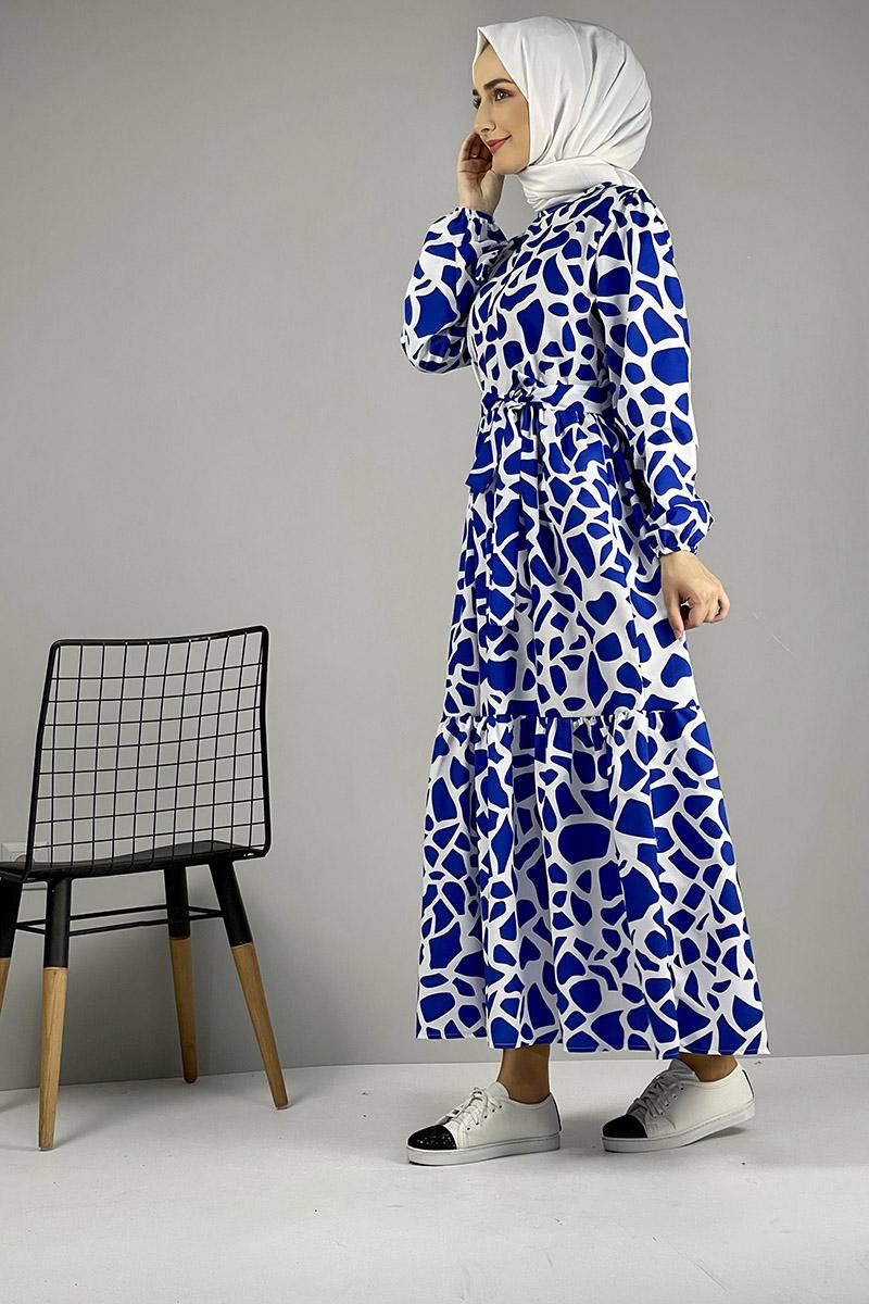 Moda Pinhan - Desenli Elbise Mavi (1)