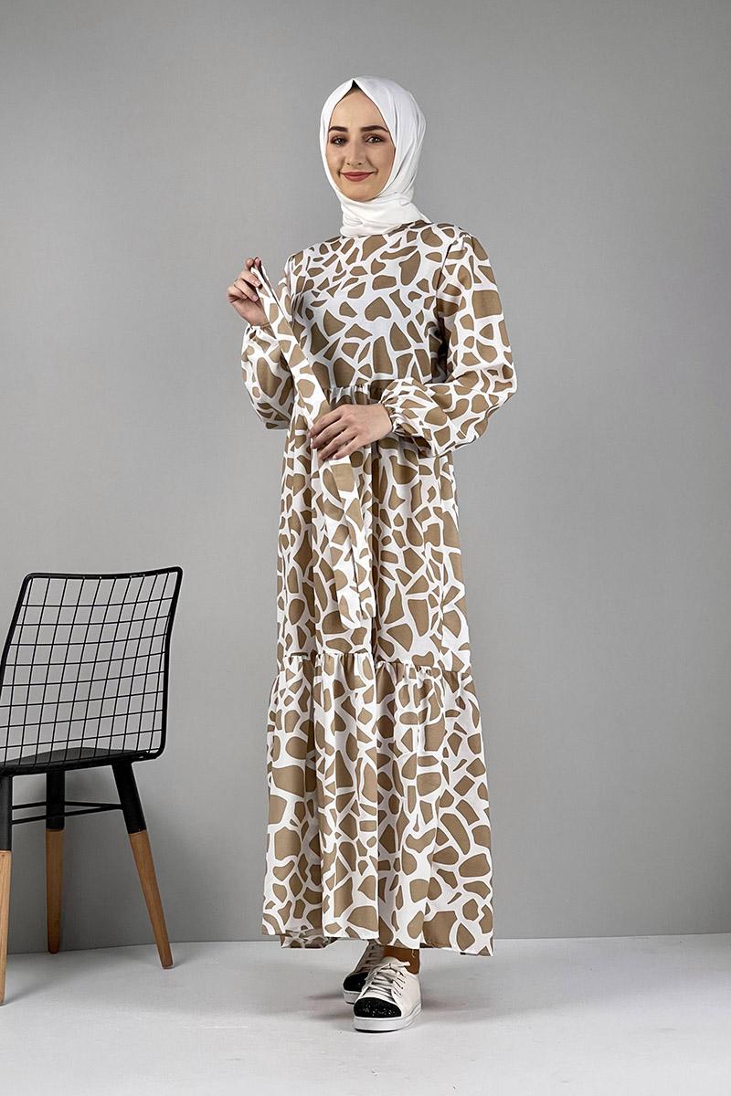 Moda Pinhan - Desenli Elbise Vizon (1)