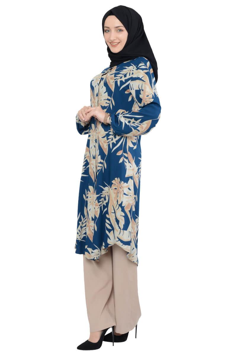 Moda Pinhan - Desenli İkili Tesettür Takım Petrol (1)
