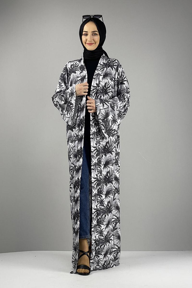Desenli Kimono Antrasit