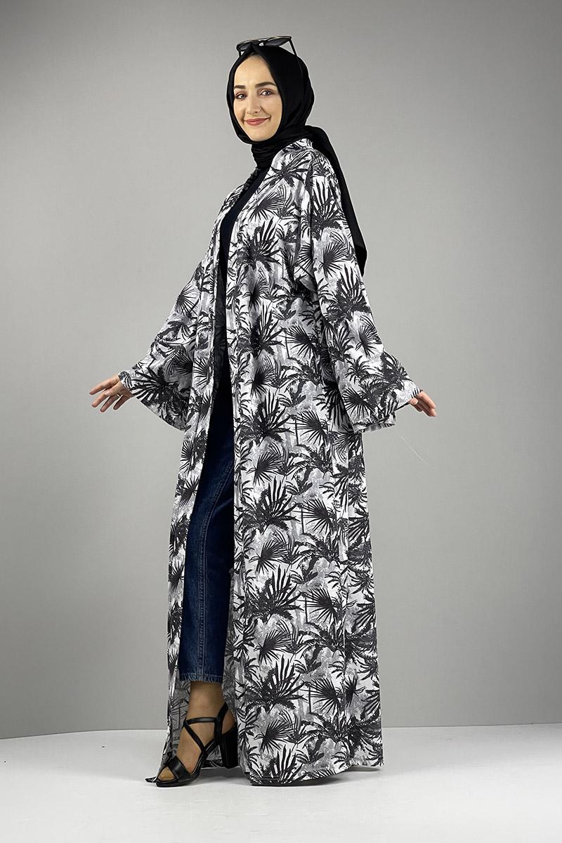 Desenli Kimono Antrasit - Thumbnail