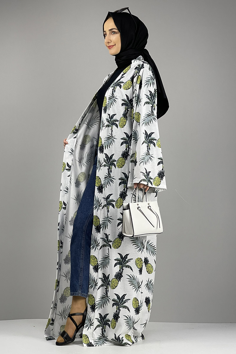Moda Pinhan - Desenli Kimono Haki Yeşili (1)