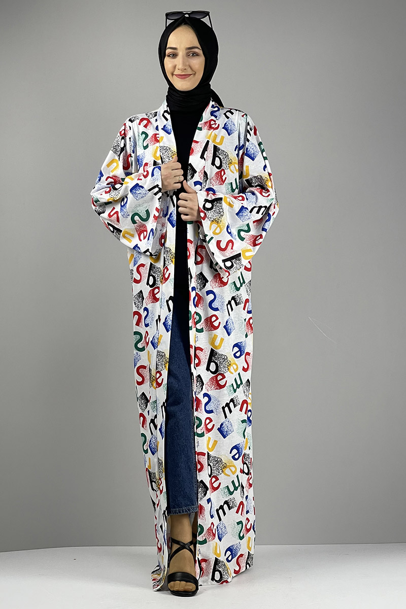 Desenli Kimono Kırmızı Siyah - Thumbnail