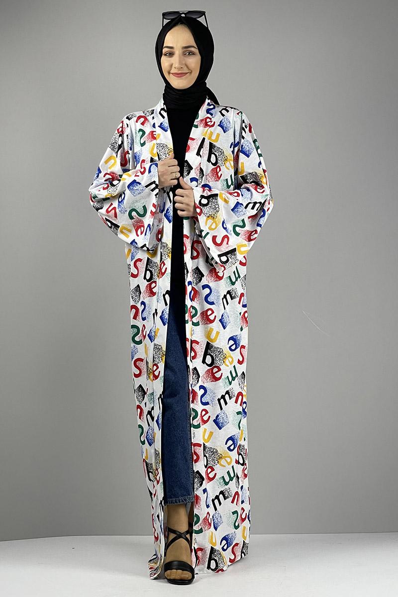 Desenli Kimono Kırmızı Siyah