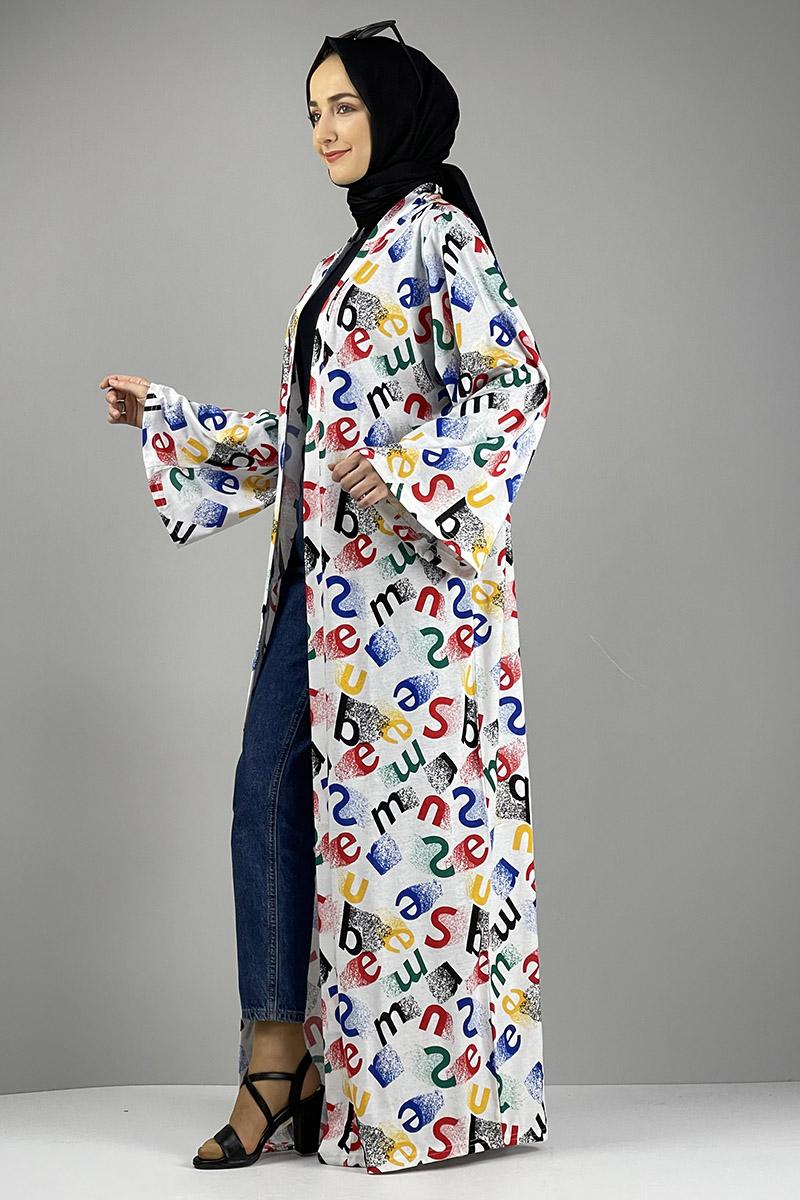 Moda Pinhan - Desenli Kimono Kırmızı Siyah (1)