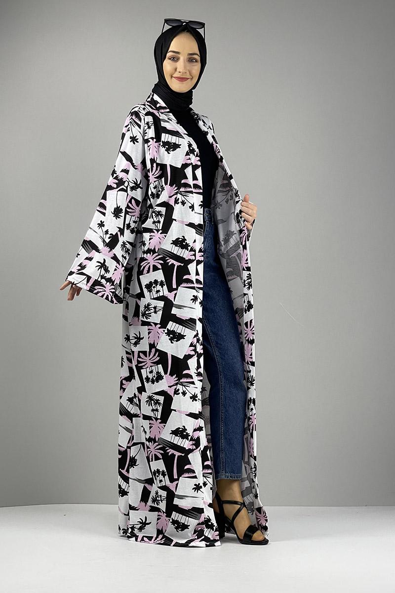 Moda Pinhan - Desenli Kimono Siyah Gül Kurusu (1)