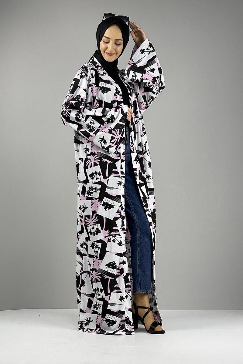 Desenli Kimono Siyah Gül Kurusu