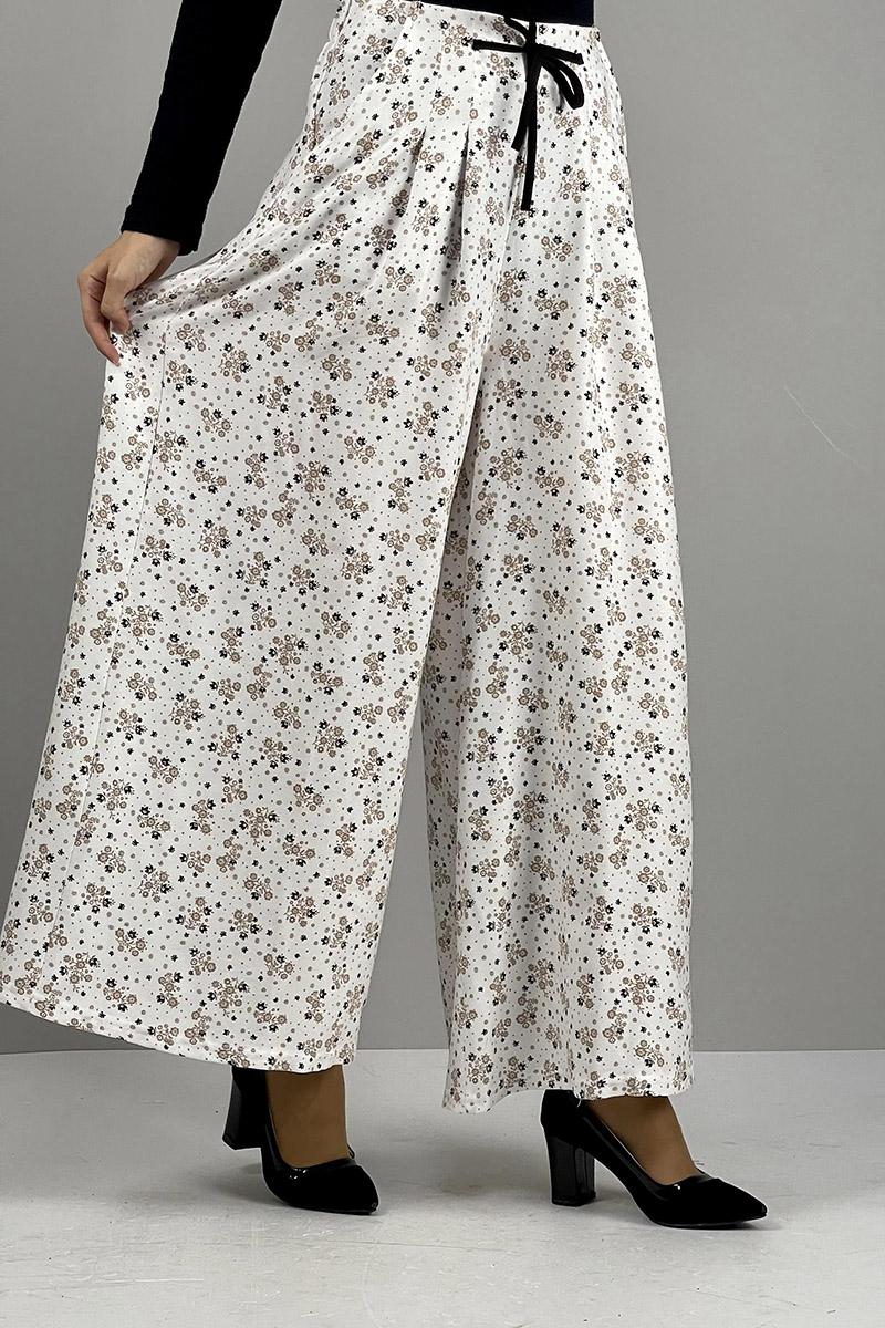 Moda Pinhan - Desenli Pantolon Etek Ekru Vizon (1)