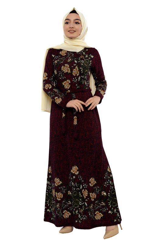 Moda Pinhan - Desenli Tesettür Elbise Bordo (1)