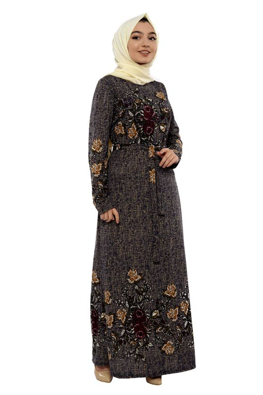 Zenane - Desenli Tesettür Elbise Gri 8001 Nez