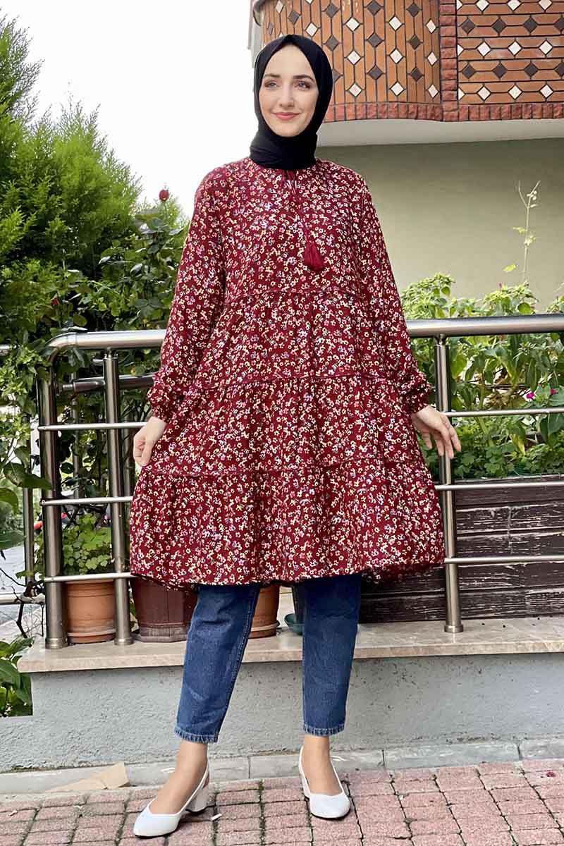 Moda Pinhan - Desenli Tunik Bordo (1)
