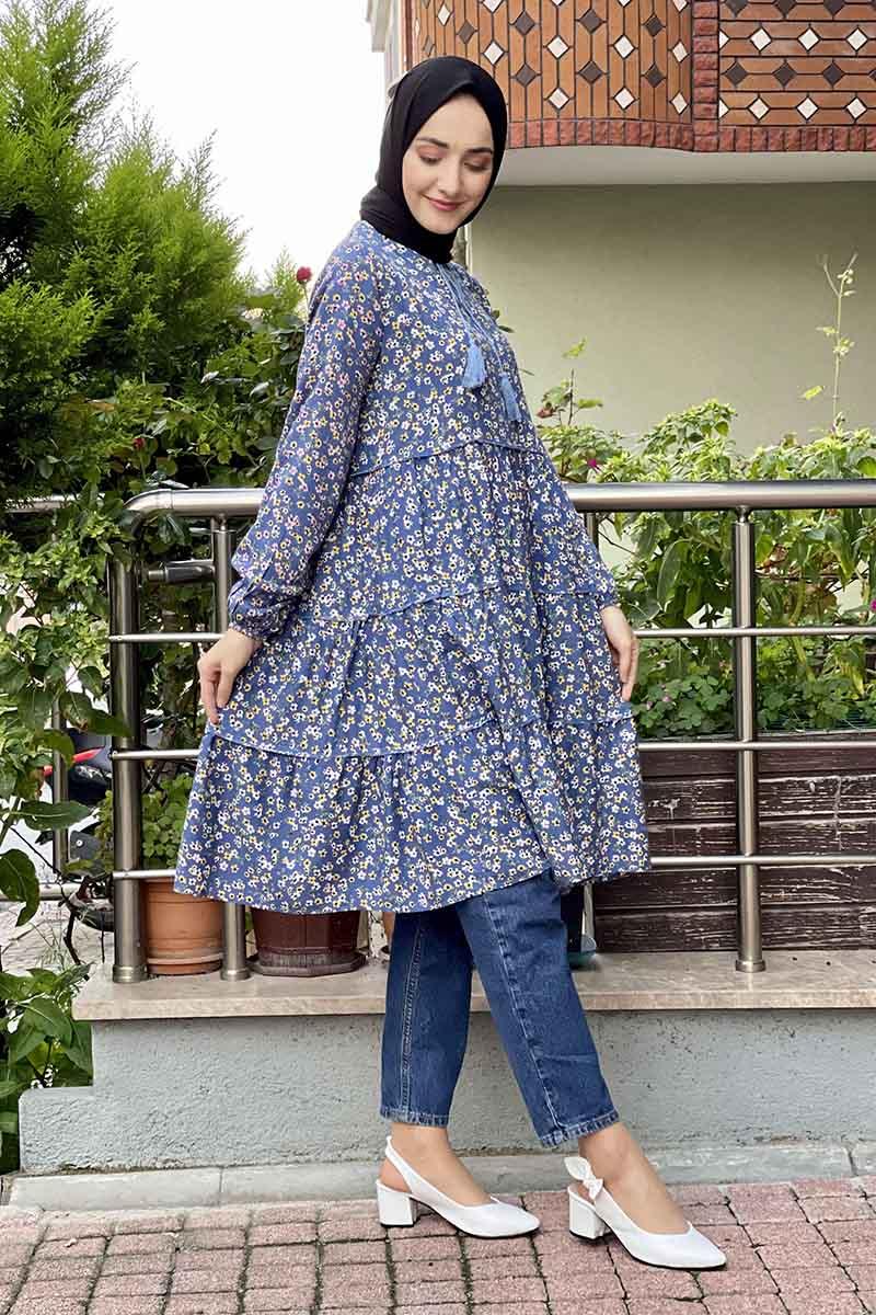 Moda Pinhan - Desenli Tunik İndigo (1)